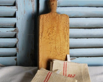 Lot of 2 Antique French Hemp Teatowels & Antique Beech Chopping Board