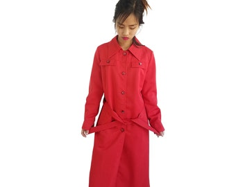Vintage Red Trench Coat 1970s Forecaster of Boston