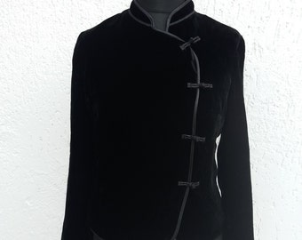 Black Velveteen Womens Jacket Long Sleeves Medium Size