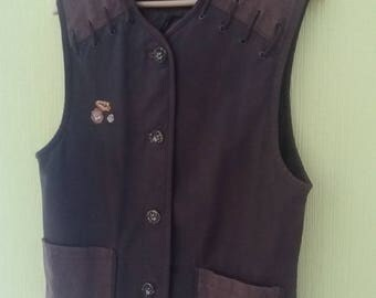 Vintage German Loden Womens Hunting Broun Suede Leather Wits Linen Vest Medium Size