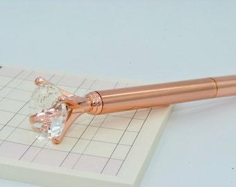 Stylo diamant rose doré rose gold or doré métal planner scrapbooking design fun GEM SOLDES cadeau evjf témoins mariée fun
