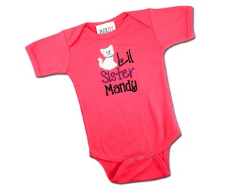 Baby Girl 'Little Sister' Kitten Bodysuit with Embroidered Name