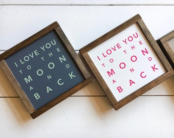 """SALE • 9"""" x 9"""" • I Love You To The Moon And Back"""