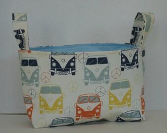 Fabric bin, fabric basket, easter basket, storage basket, vintage van, vw van, toy storage, organization storage, diaper caddy, gift basket