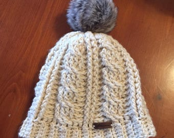 Cable crochet beanie hat