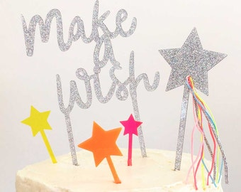 Make-A-Wish Cake Topper, Meri Meri Birthday Cake Toppers, Silver Glitter Cake Topper, Birthday Cake Star, small star picks sold SEPARATELY