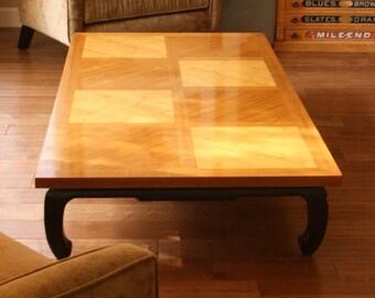 Vintage Teak Coffee Table Black Oriental Style Legs Teak Wood Mid Century