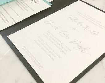 Luxe modern Letterpress wedding invitation - embossed
