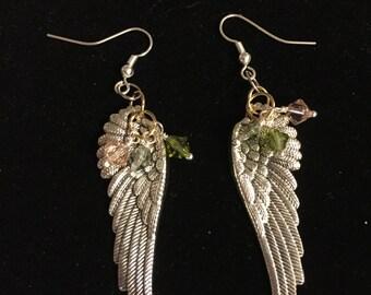 Silver plated Angel wings with Swarovski crystal earrings