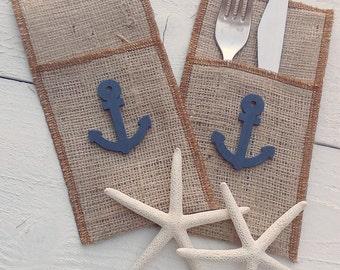 Burlap Cutlery Holder -  Nautical Burlap Silverware Sleeve - Burlap Cutlery Pocket - Beach Wedding Decor - Flatware Holder - Choose Qty