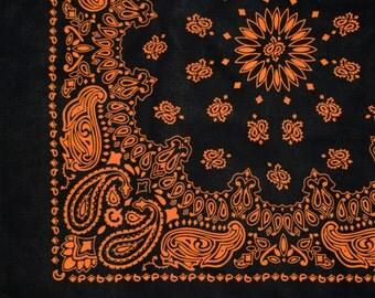 """Bandana - Black and Orange Cotton 22"""" Square Cowboy Style Paisley Bandana"""