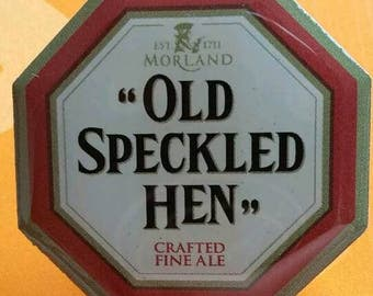 Moorland 'old speckled hen' pin badge