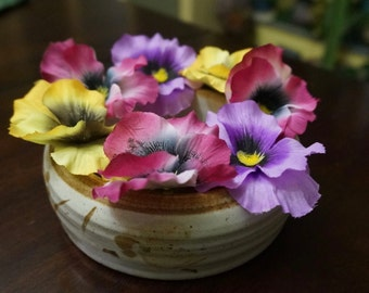 Stoneware; Pansy Ring Vase; Approx. 2 (h) x 5 (w) in. Hand Crafted !!!