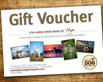 Pet photography gift voucher - for one dog