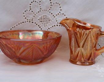 Carnival Ware - Milk jug and sugar bowl c1950's