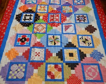 Bedspread - Queen Quilt - Full Quilt - Pieced Quilt - Bright Quilt Colors - Wall Hanging - Lake House Fabric