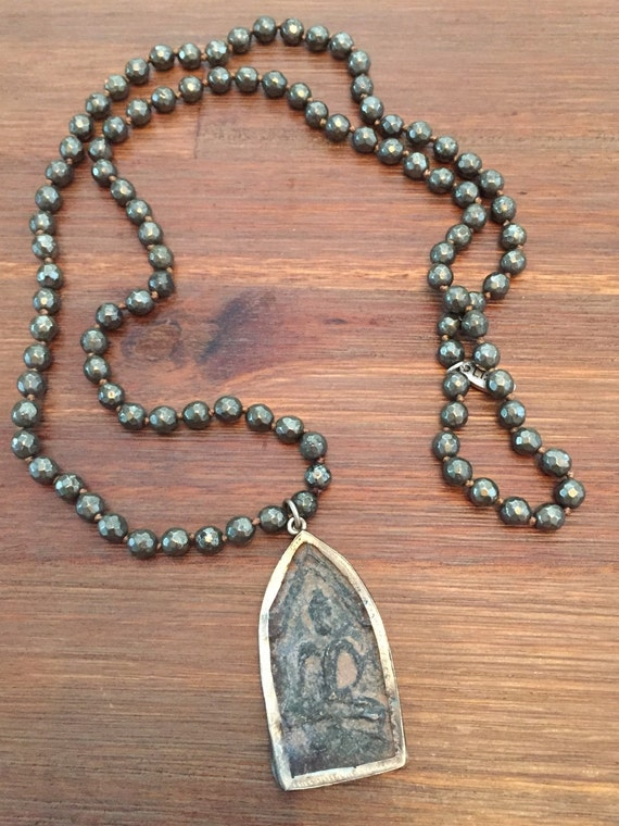 Long Pyrite Beaded Buddha Mala Style Neclace for Him or Her