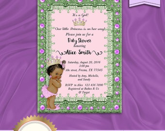 Emerald Green Little Princess Baby Shower Invitation, Princess Baby Shower Invite, Royal Baby Girl Invitation,  Printable, Digital file