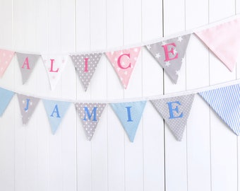 Fabric Name Bunting - Personalised Bunting - Name Banner - Nursery Bunting - New Baby Gift - Child Bedroom Decor - Baby Shower Gift - Flags