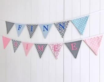 Name Bunting - Sheep Fabric Bunting - Kids Custom Bunting - Name Banner - Nursery Bunting - Child Bedroom Flags - Name Flags - Kids Bunting