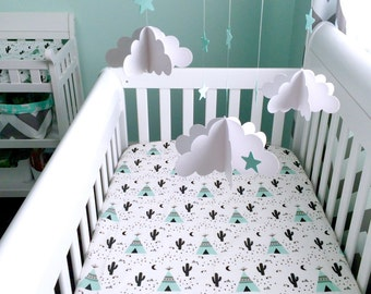 Teepee & Cactus mint, ivory  cream fitted cotton crib sheet