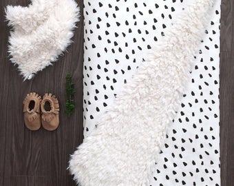 Little hand painted black spots Faux Fur taupe Cuddle Blanket