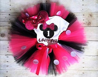 Minnie Mouse  Birthday Outfit Minnie Mouse 1st Birthday Outfit Minnie First Birthday outfit Personalized Minnie Mouse Birthday clothes