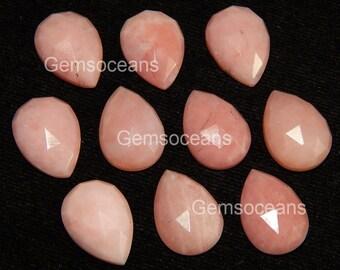 10 Pieces Lot Pink Opal Pear Rose Cut Loose Gemstone