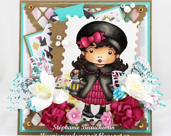 Winter Christmas Lantern Girl Card