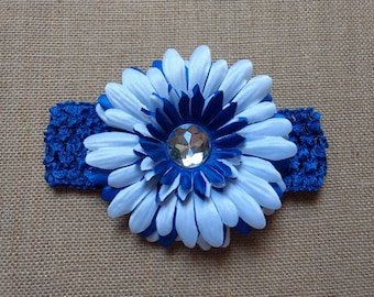 Blue Flower Headband, Baby Headband, Royal Blue Headband, Baby Hair Accessory, Infant Headband, Baby Girl Headband, Newborn Headband