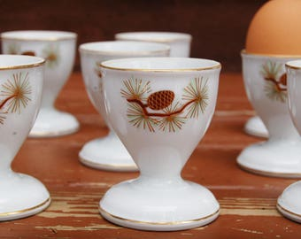10 Pine Cone Egg Cups, Vintage Fukagawa Arita Pine Cone Egg Cups, Set of China Egg Cups, Japan China