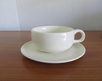 One Signed Vintage Steubenville White Russel Wright Cup and Saucer- Five available