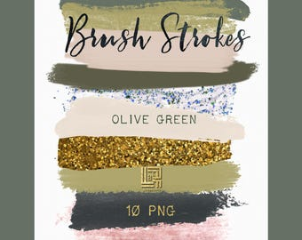 Olive green. Ground  colors palette. Gold glitter.  Brush Strokes Clip Art . Watercolor clipart. Digital Design Resource.