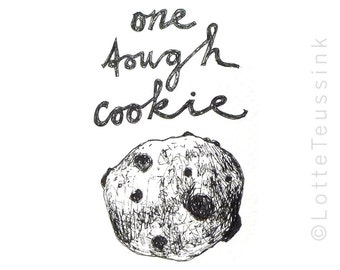 Original artist trading card, original ACEO, black and white drawing, One Tough Cookie ACEO card, food ATC, miniature art, small artwork