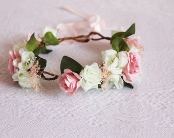 Pink and white rose and baby's breath Flower Crown / pink, baby's breath, leaves, spring, floral, handcrafted, photoshoot