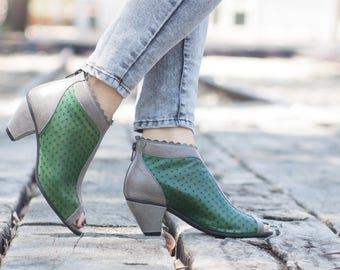 Green Leather Shoes, Green Heels Shoes, Summer Shoes, Leather Sandals, Leather Heels, Heeled Sandals, Free Shipping