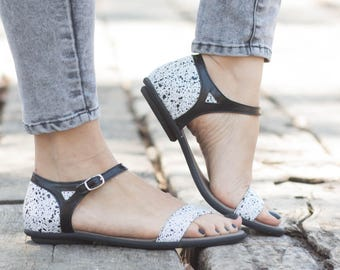 White Leather Sandals, Printed Leather Sandals, Women Summer Shoes, Leather Flats, Free Shipping
