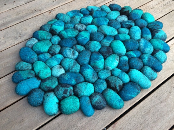 Felt Stone Rug Bath Mat Super Soft With Soft Core Turquoise