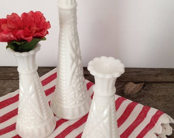 Vintage Milkglass Set of 3 Bud Vases One Large Two Small