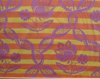 Half Yard - Charm Stripes Flowers, Charm, Amy Butler Fabric, quilting cotton, Orange, Yellow, Purple