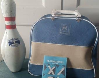 Brunswick Bowling Ball Bag - WIBC - Blue and White - Wire Rack Ball Holder - Retro Handbag - Bowling Collectible - Vintage Bowling - Gift