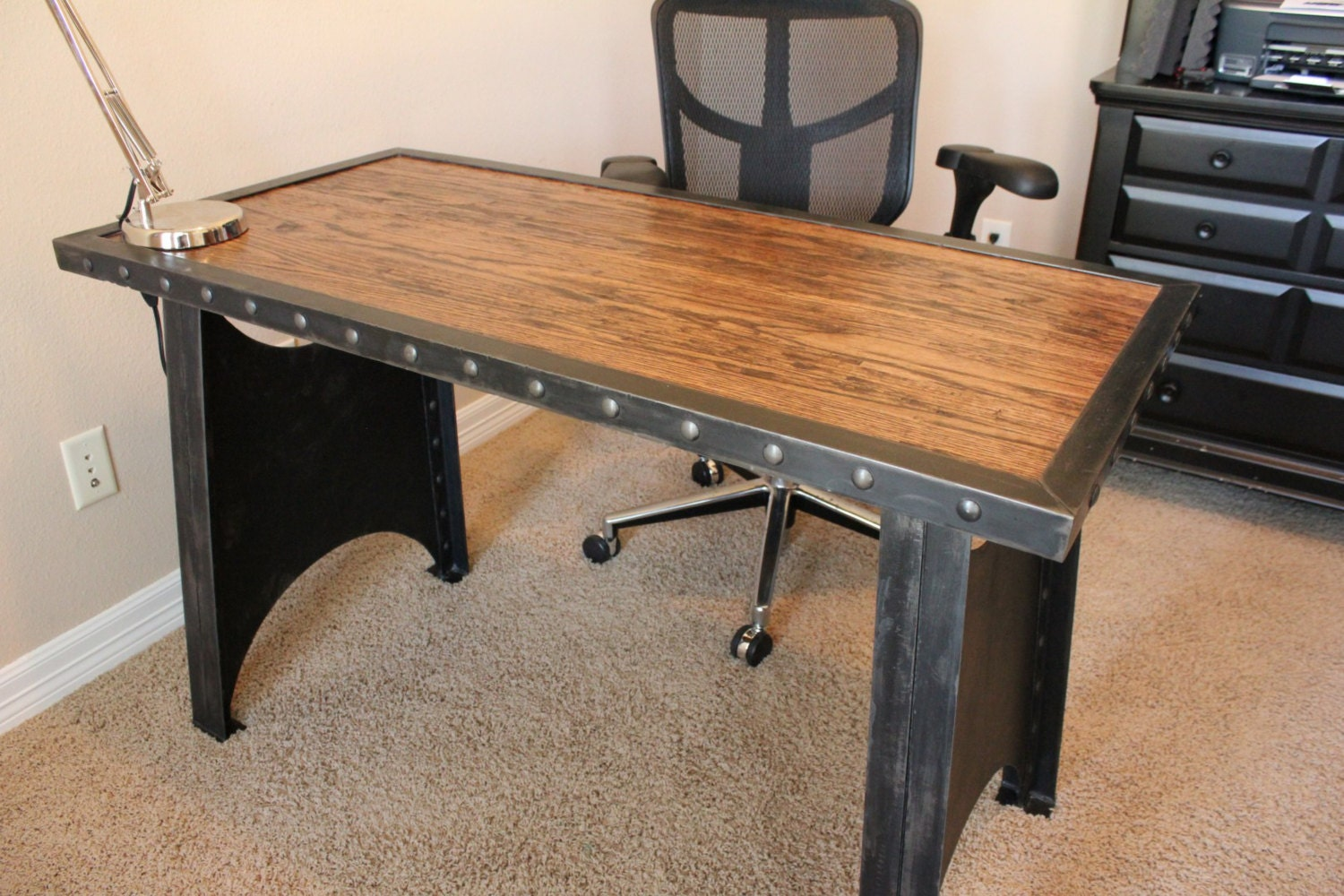 Vintage Industrial Office Desk Steampunk Table Riveted