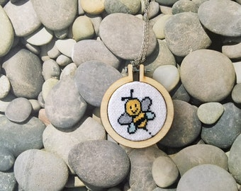 Bee cross stitch necklace. Free shipping US only.