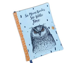 Book Cover Handmade, Book Cover owl, So many books, Fabric, Notebook Cover, book lovers, UK Seller, Owl Accessories, Fabric book cover, Owl