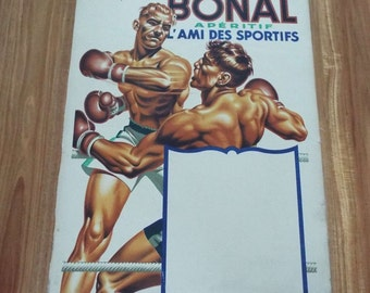 Rare Vintage Original 1930's French Boxing Poster Bonal C H Lemmel Sports Drinks Fighting