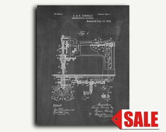 Patent Print - Embroidering Machine Patent Wall Art Poster