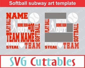 Softball Subway Art SVG, Softball SVG, Digital Cut File