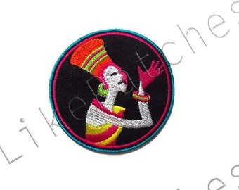 Egyptian Symbols - Egypt - Black Circle Patch - New Sew / Iron on Patch Embroidered Applique Size 6.6cm.x6.5cm.