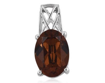 Brown Crystal Made With SWAROVSKI Oval 14x10mm Sterling Silver Pendant Without Chain TGW 4.50 cts.