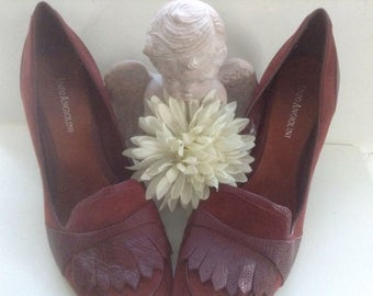 """Enzo Angiolini Oxford Style Heels Size 8  Ea Flexo 8M Heels 3 1/8""""  Leather Suede Rust Cranberry Fall Winter Designer"""